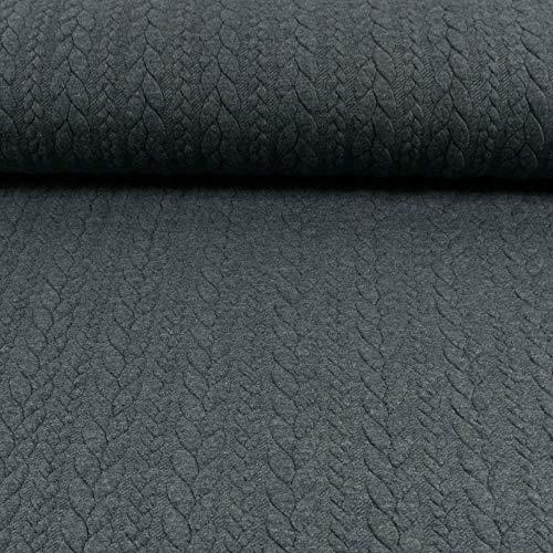 Jacquard Jersey Zopfstrick dunkel Jeansblau Modestoffe Strickstoffe Winterstoffe - Preis Gilt für 0,5 Meter