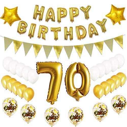 Oumezon 70.Geburtstag Dekoration Luftballons Gold Set ,70 Geburtstagsdeko Gold Set mädchen Herren Damen Junge, 70 Geburtstag Dekoration ,Happy Birthday Ballon Deko 70 Deko Folienballons