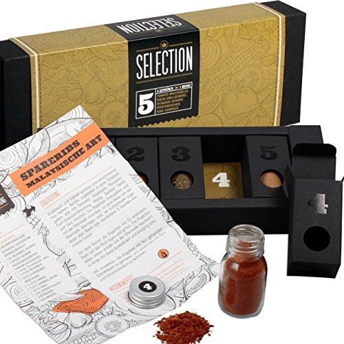 Gewürzset Selection - Die perfekte Geschenkidee für Geniesser - das ideale Geschenk für Hobbyköche - Kräuter - und Gewürzmischungen mit Rezepten zum Nachkochen - 5 Gänge Menü - Geschenkset