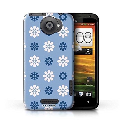 Kobalt® Imprimé Etui / Coque pour HTC One X / Vert conception / Série Motif avec pétales Bleue