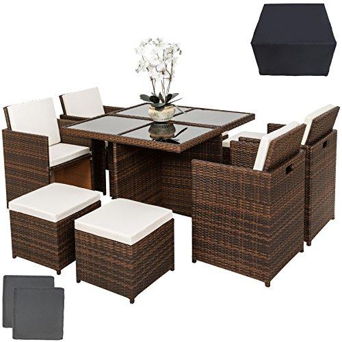 TecTake Conjunto muebles de jardín en aluminio y ratán sintético comedor juego 4+4+1 + funda completa + set de fundas intercambiables | tornillos de acero inoxidable - disponible en diferentes colores - (marrón negro | no. 401985)