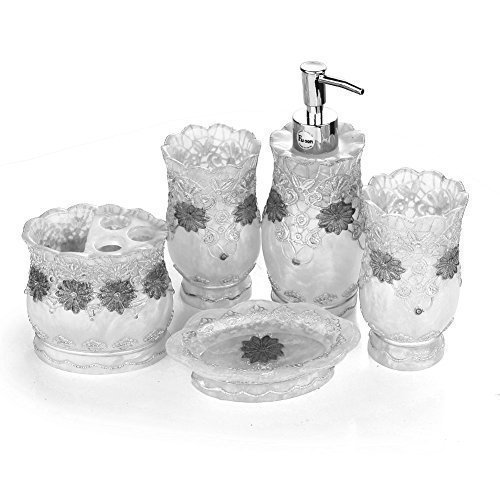 fuloon vintage classic luxury bathroom bath 5pcs set 3d decor accessories collection set for hotel home silver