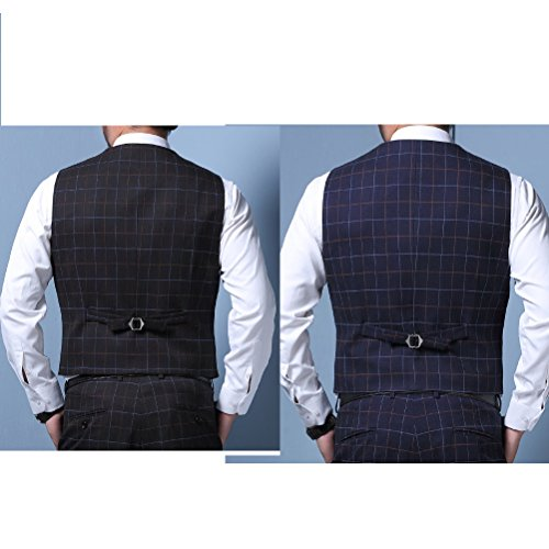 Zhhlinyuan Mode Mens Business Plus Size Suit Vest V-neck Sleeveless Waistcoat Blazer Black