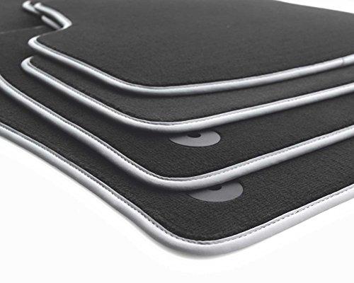 Fußmatten (Velours) Automatten Original Qualität Premium Nubuk Silber Grau 4-teilig schwarz