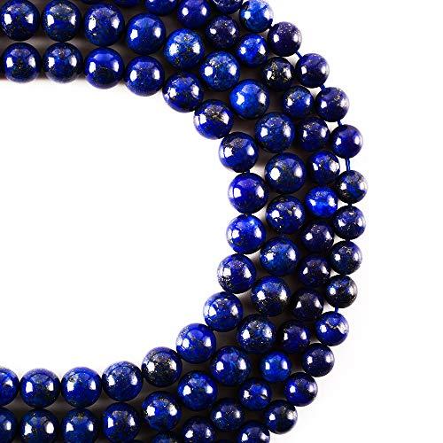 RayLineDo 47Pcs 8mm Natürliche Blaue Lapislazuli Stein Runde Perlen Lose Perlen Großhandel für Schmuckherstellung