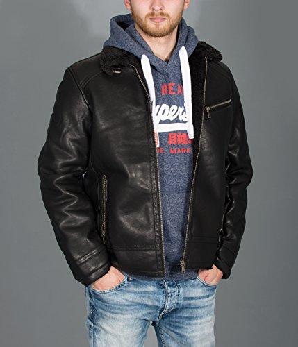 BetterStylz PalmerBZ Veste Jacket Homme faux cuir fermeture éclair fur blouson manches longues vegan M-XXL Noir