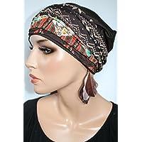 Beanie Mütze Braun mit Bänderset Borten herbstlich Print ittle things in life Chemo Cap Hat Chemomütze Mütze bei Krebs Kopfbedeckung Turban