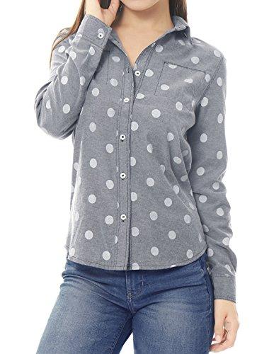 Allegra K Allegra K Femmes surtout pois manches longues Chemise Jean gray