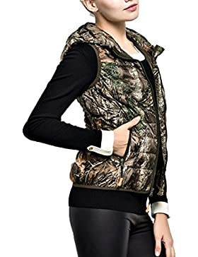 Laixing Buena Calidad Women's trees camouflage color slim short down Vest with hood Winter Vest