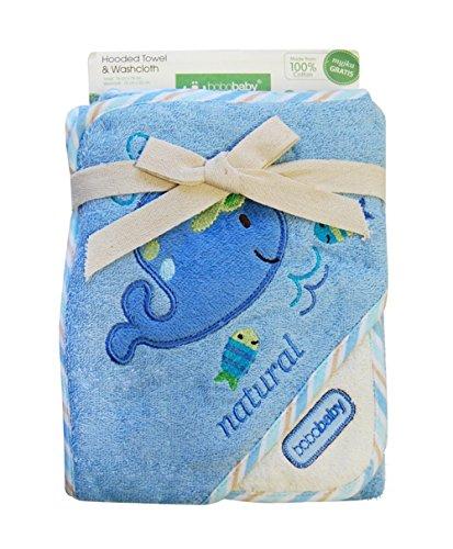 bobobaby-ragazzo-set-regalo-in-baby-asciugamano-con-cappuccio-76-x-76-cm-e-bavaglino-di-cotone-blu-b