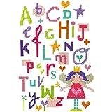 The Stitching Shed - Kit de punto de cruz, diseño de letras del abecedario y hada