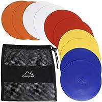 CampTeck U6934 - Coni Piatti PVC Coni Allenamento Piatti Sportivi Flessibili - (Confezione da 10) con Borsa Rete Nera - Colori Dischi: Arancio, Blu, Rosso, Bianco, Giallo