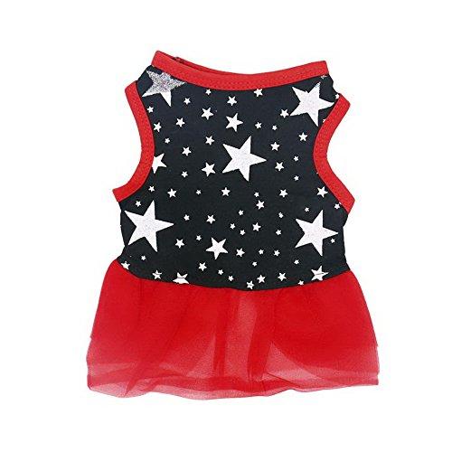 Roblue Hunde Kleider Kostüme Rot Schwarz Spitze Haustier Tutu Rock Welpen Katze Sommer Sterne Muster - Schwarze Katze Tutu Kostüm