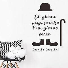 Idea Regalo - DecalMile Frasi Adesivi Murali Charlie Chaplin Un giorno senza un sorriso è un giorno perso Nero Adesivi da Parete Citazioni Camera da Letto Soggiorno Decorazioni Parete