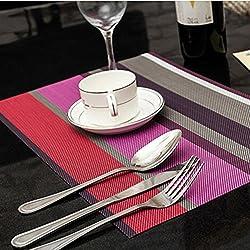 yhlve 1 Mantel Individual de Rayas con Aislamiento Térmico Impermeable de PVC (30 x 45 cm), PVC, Morado a Rayas, 30*45cm