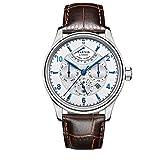 PARNIS 2117Complicated Tion para 43mm de estilo clásico de hombre automático reloj calendario completo Reserva Cristal de zafiro Acero inoxidable pulsera de piel de ternero 5Bar impermeable