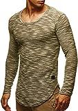 LEIF NELSON Herren Sweatshirt Hoodie Hoody T-Shirt LN6358; Größe S, Khaki