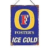 Fosters Hielo frío-réplica Vintage Placa metálica para la Pared Retro Pub Bar Mancave, 29c20cm Twine/String