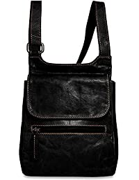 Jack Georges Voyager Collection Leather Slim Crossbody Bag In Black