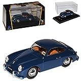 Porsche 356 Urmodell Coupe Grau Blau 1948-1955 1/43 Yatming Lucky Die Cast Modell Auto mit individiuellem Wunschkennzeichen