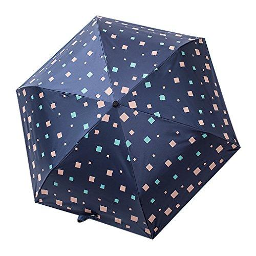Guoke Sonnenschutz Uv Regenschirm Weiblichen Kleinen Frischen Regen Dual-Use Falten Sonnenschirm Dreifach Umbrella, Dunkelblau