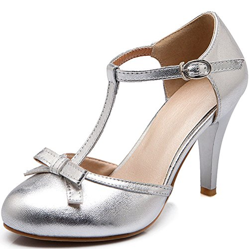 KingRover Women's Patent Leather Round Toe Bowtie Ankle T-Strap Buckle Pumps Dress Heeled Shoes(Gold Size . Inch) (T-strap Pump Patent)