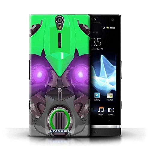 Kobalt® Imprimé Etui / Coque pour Sony Xperia S/LT26i / Bumble-Bot Vert conception / Série Robots Bumble-Bot Vert