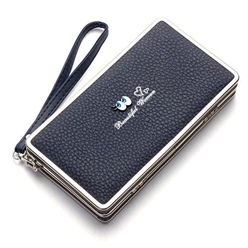 Bonice borsa del portafoglio da donna con la chiusura lampo in pelle PU multifunzione [Grande capacità] Card Slots Case Cover per iPhone 8/8 Plus/iPhone X, iPhone7/7 Plus/6S/6S Plus/6/6 Plus/5/5S/5C/S Occhi-Cover-08