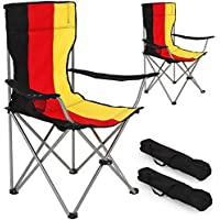 TecTake Silla de camping plegable + Portabebidas + Práctica bolsa de transporte - disponible en diferentes colores y cantidades - (2x Bandera de Alemania | No. 401257)