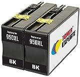 TONER EXPERTE 2 XL Schwarz Druckerpatronen Ersatz für HP 950 950XL CN045AE kompatibel für HP Officejet Pro 8100 8600 8610 8615 8616 8620 8625 8630 8640 8660 251dw 276dw | hohe Kapazität (2300 Seiten)