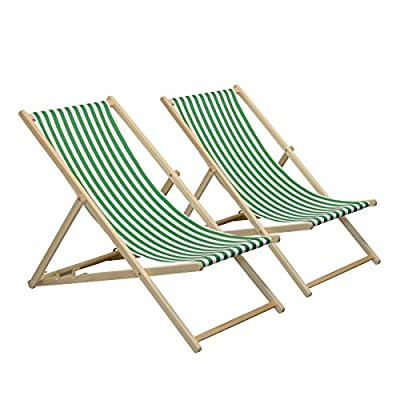 Traditional Adjustable Garden / Beach-style Deck Chair - Green / White Stripe - Pack of 2 - low-cost UK light shop.
