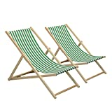 Harbour Housewares Traditional Adjustable Garden/Beach-style Deck Chair - Green/White Stripe - Pack of