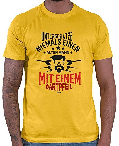 HARIZ  Herren T-Shirt Unterschätze Niemals Einen Alten Mann Dartpfeil Dart Sprüche Männer WM Plus Geschenkkarten Gold Gelb XL