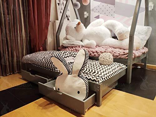 Cottage Mit 3 Schubladen (Hyggelia Tipi Bett und Zwei Schubladen und Zwei Schubladen, ohne Schutzbarrieren Kinderbett, für Jugendliche, Schlafzimmermöbel,Hausbett, aus Holz (140x 200cm, Natürliches Holz))
