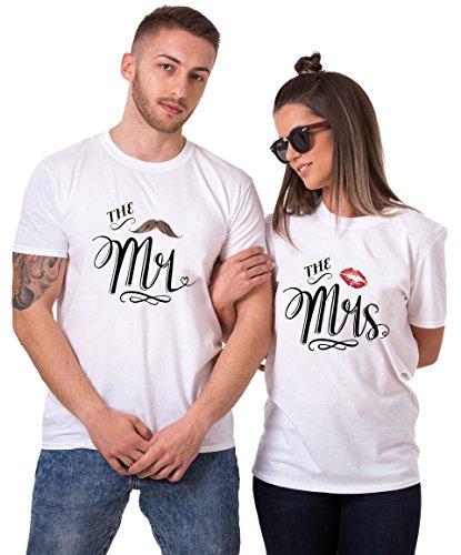 Pärchen T-Shirt Set Mr Mrs Partnerlook Couple Tshirt Paar Valentinstag Geschenke für Partner Symbolische Liebe T-Shirt (Weiß + Weiß, Mr-XXL + Mrs-XXL)