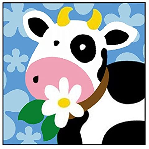 Kit Canevas Enfant gros trous La Vache Petite Fleur - Ref 007