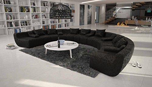 Couch u form xxl  Große Wohn-Landschaft mit Kunstleder Bezug schwarz 400x265 cm U ...