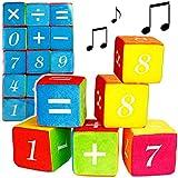 Unbekannt XXL Stoff & Soft - Baustein -  mit Rassel - Zahlen von 0 - 9 + Mathematik - Plus / Minus / Mal / Durch / =  - Spielwürfel / Würfel - 10 cm - groß bunt - STO..
