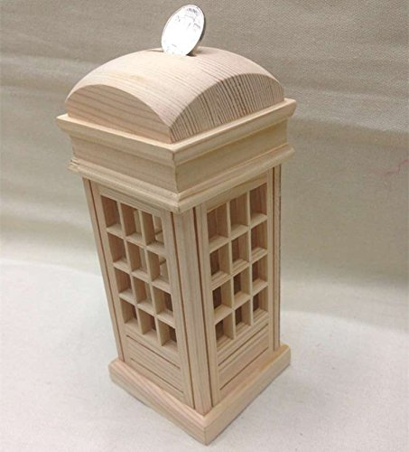 XBR Una caja de dinero; una cabina telefónica; una forma de ahorro de madera de pecho; un cambio; una caja de dinero,8.5 x 8.5 X 19cm