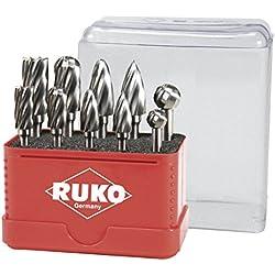 Ruko 116103A - Juego de 10 fresas de metal duro para aluminio con vástago de 6 mm
