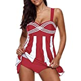 OverDose Damen 2PCS Streifen Drucken Sommer Übergröße Bikinis Tankini Swim Kleid Badeanzug Beachwear Gepolsterte Bademode Frauen Plus Size Beachwear Badeanzüge Bikini Set(Rot,EU46)