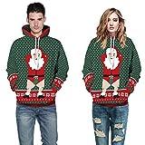 SEWORLD Weihnachten Sweatshirt Kapuzenpulli im Freien Damen Langarm Warmer mit Kapuze Sport Lose Drucken Outwear Pullover Tops Bluse(X3-grün,EU-46/CN-L/XL)