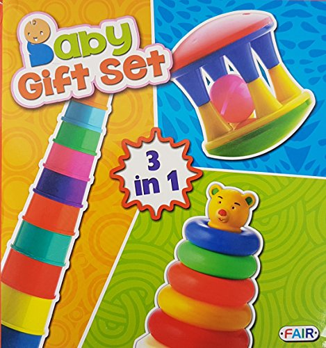 Toyshine 3 in 1 Toys Gift Set, Rattle, Stacker and...