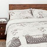 Parure de lit housse de couette et taie d'oreiller imprimé style vintage - 230 x 220 cm