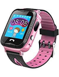 Bambini impermeabile Smartwatch con fotocamera e GPS Night Light touch screen Smart Watch braccialetto per bambini ragazze ragazzi compatibile per iPhone Android, Pink