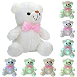 niceEshop(TM) LED Light Up Glow Teddy Bear Stuffed Plush Toy Dolls with Colorful Flash LED Light, Birthday Gift/Christmas Present for Kids, White 8.7x6.3inch