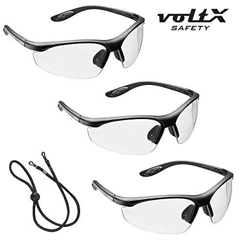 3 x voltX 'CONSTRUCTOR' BIFOKALE Schutzbrille mit Lesehilfe CE EN166F zertifiziert/Sportbrille für Radler (KLAR +2.0 Dioptrie) enthält Sicherheitsband – Bifocal Safety Glasses