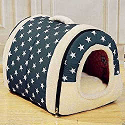 ANPI 2 en 1 Casa y Sofá para Mascotas, Lavable a Máquina Patrón de Estrellas Blancas Casa Nido Cueva Cama de Perro Gato Puppy Conejo Mascota Antideslizante Plegable Suave Calentar Con Cojín Extraíble Colchón de Cachemira Desmontable, Medio