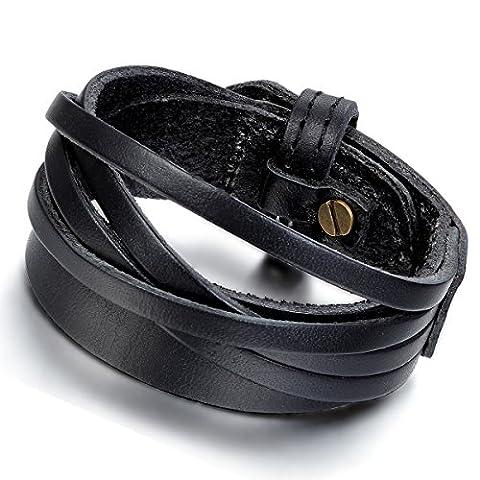 Flongo Bracelet Alliage Genuine Leather Cuir Corde Menotte Enrouler Réglable