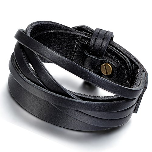 Flongo Bracelet Alliage Cuir Menotte Enveloppez Enrouler Réglable Motard Punk Rock Fantaisie Bijoux Cadeaux pour Femme Homme Noir & Brun(2 Pcs)